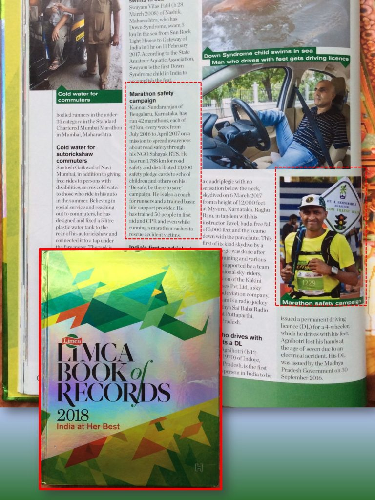Kannan Sundararajan Road Safety Campaign in Limca Book of Records